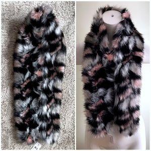 Ann Taylor Pink Black Grey Scarf Shawl Fur Stole